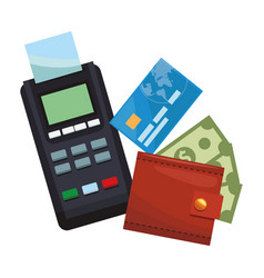 Credit card reader and wallet with money vector