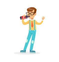 Cute boy drinking soda from a bottle colorful vector