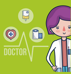 cute female doctor cartoon vector image
