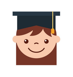 cute girl graduated icon vector image
