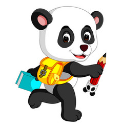 Cute panda on his way to school vector