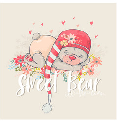 cute sleeping bear vector image