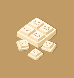 cute white milk chocolate bar cartoon vector image