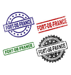 Damaged textured fort-de-france seal stamps vector
