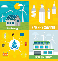 Eco energy banner set flat style vector