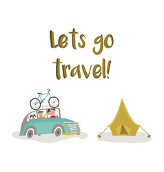 Family road trip - car bicycle and tourist tent vector