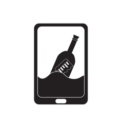 Flat icon in black and white mobile app vector image