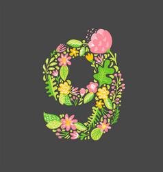 floral summer number 9 nine flower capital vector image