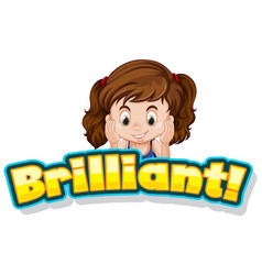 Font design for word brilliant with cute little vector