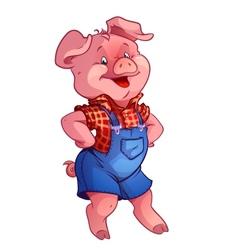 funny happy pig vector image