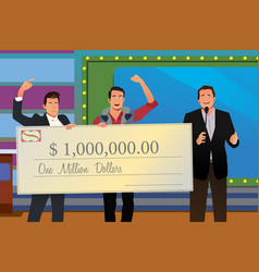 game show winner receiving check vector image