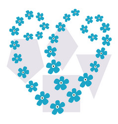 geometric shapes small blue flowers heart vector image