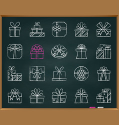gift chalk draw line icons set vector image