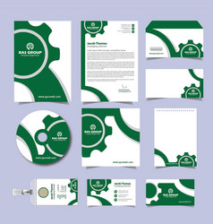 Green company corporate stationery vector