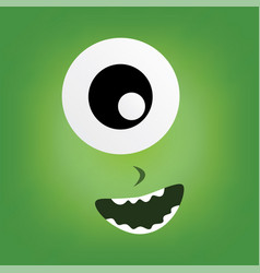 green monster character face vector image