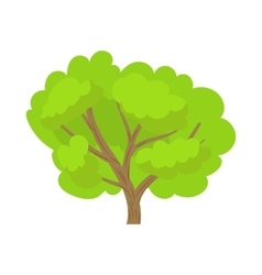 Green tree icon in cartoon style vector image