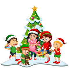 Group children wearing christmas costume on vector
