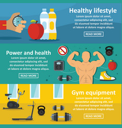 gym healthy banner horizontal set flat style vector image