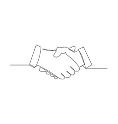 handshake one line drawing vector image