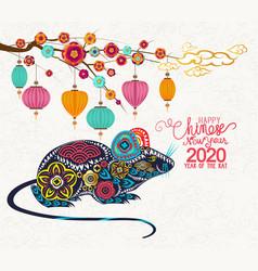 Happy new year 2020 zodiac rat lunar new year vector