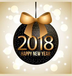 happy new year big black ball glow golden bow vector image