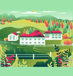 hills and mountains landscape house farm in flat vector image