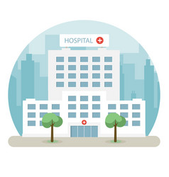 Hospital building in a big city flat design vector