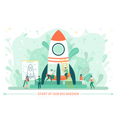 innovation technology spaceship and worker vector image