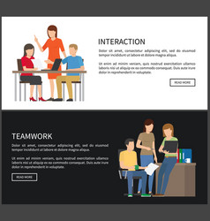 Interaction and teamwork set vector
