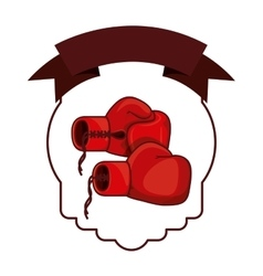 Isolated boxing glove inside frame vector image