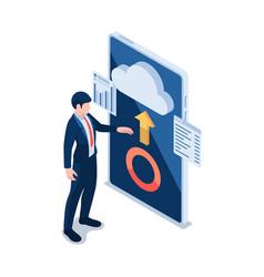 isometric businessman using cloud computing vector image