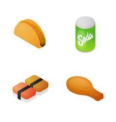 isometric fast food set 2 vector image