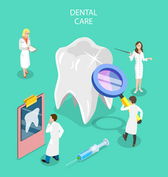 isometric flat concept dental checkup vector image