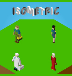 Isometric human set of plumber female medic and vector