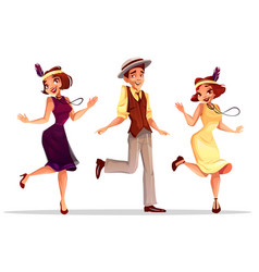 jazz dancers man and women vector image