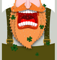leprechaun screams scary gnome red beard shouts vector image