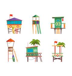 Lifeguard building bungalow guard towers vector
