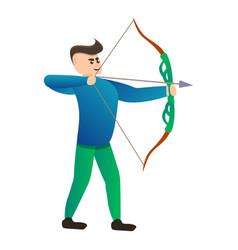 Man arch shooting icon cartoon style vector