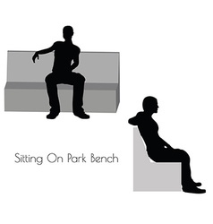 Man in Sitting On Park Bench pose on white vector