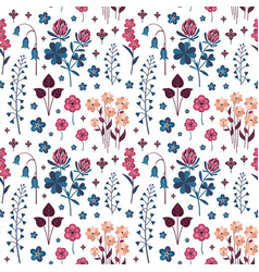 Meadow wild flowers and herbs botanical pattern vector