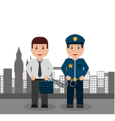 men workers business and police people city vector image