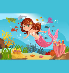 Mermaid in ocean vector