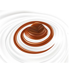 Milk swirl with chocolate candy vector