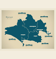 Modern map - dorset county with districts labels vector