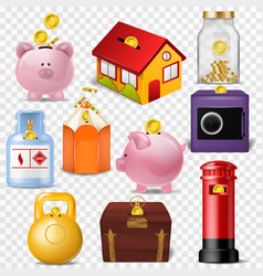 money box financial bank or money-box with vector image