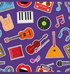musical instruments and equipment seamless pattern vector image