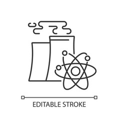 Nuclear industry linear icon vector