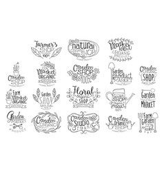 Organic garden hand drawn banner set vector