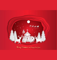 paper art carving of winter holiday snow in town vector image