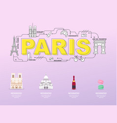 paris sightseeing tour with landmark icons in vector image